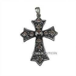 Large Black Crystals Cross Pendant
