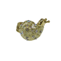 Bedazzled Snail Stretchy Ring Oversize Gold