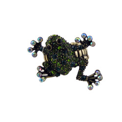 Bedazzled Frog Stretchy Ring Oversize Olive Green