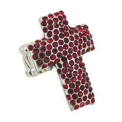 Cross Stretch Ring Jeweled Garnet Red