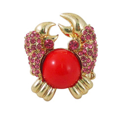 Crab Ring Stretch Gold Tone Orange and Pink