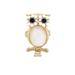 Owl Stretch Ring Gold White