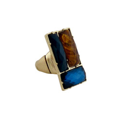 Downtown Couture Design Ring Blue, and Tortoise