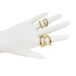 Four Piece Double Wave Ring Set Gold