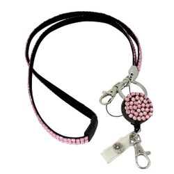 Glittering Beads Lanyard & Extendable Badge Reel Light Pink