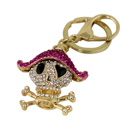 Crystal Pirate Key Chain and Purse Charm Fuchsia
