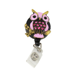 Owl Badge Reel with Crystals Pink