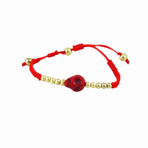 Rockabilly Skull Bracelet Red