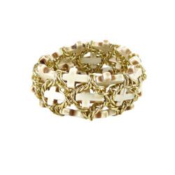 Ivory Chain Linked Cross Bracelet