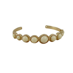 Gold Cuff with Beads Ivory