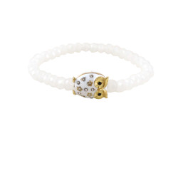 Crystal Cut Beaded Stretch Owl Bracelet White