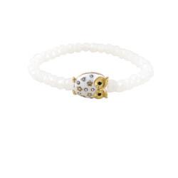 Crystal Cut Beaded Stretch Owl Bracelet White