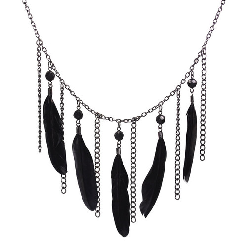 Black Beads and Feather Chandelier Necklace