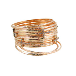 Cross Bracelet Bangle Set of Thirteen Gold