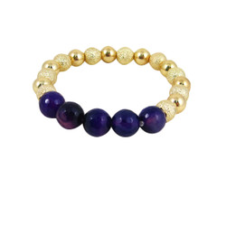 Semi Precious Beads Stretch Bracelet Gold Deep Violet