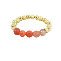 Semi Precious Beads Stretch Bracelet Gold Pink