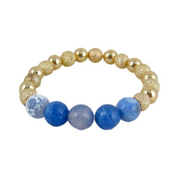 Semi Precious Beads Stretch Bracelet Gold Blue Bell