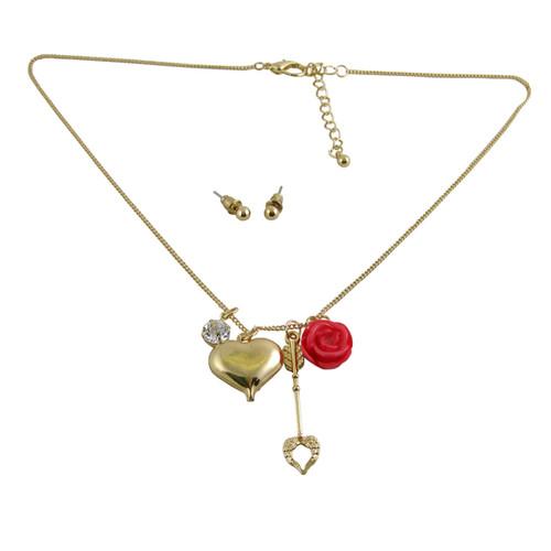 Heart Arrow Charm Necklace Earring Set