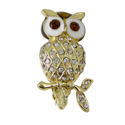 Gold Owl Brooch with Brown Eyes