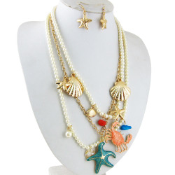 Pearl Sea Life Necklace Earring Set