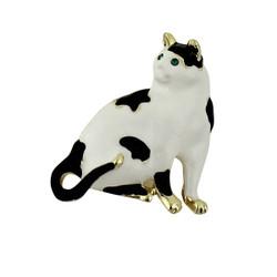 Precious Kitty Cat Brooch Black