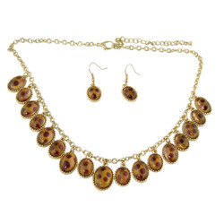 Teardrop Tortoise Necklace and Earrings Set