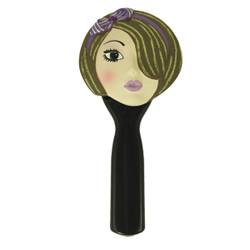Hand Mirror Brunette Purple Headband