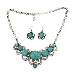 Shining Crystal and Turquoise Necklace and Earrings Set