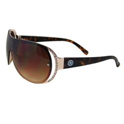 Rhinestone Detail Sheild Style Sunglasses Brown