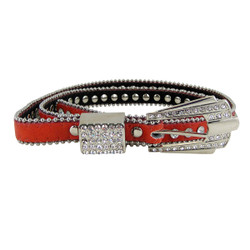 Rhinestone Fashion Belt Jeweled Coral (S-M)
