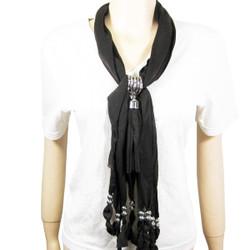 Criss Cross Tassel Jewelry Scarf Dark Brown