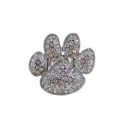 Paw Print Stretch Ring Bejeweled Silver