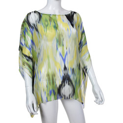 Beach Poncho Coverup Watercolor Print Yellow