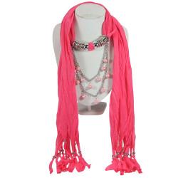 Dangling Beads Jewelry Scarf Fuchsia