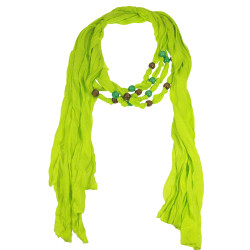 Wood Beads Jewelry Scarf Neon Green