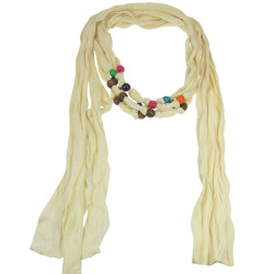 Wood Beads Jewelry Scarf Ivory