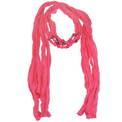 Wood Beads Jewelry Scarf Fuchsia