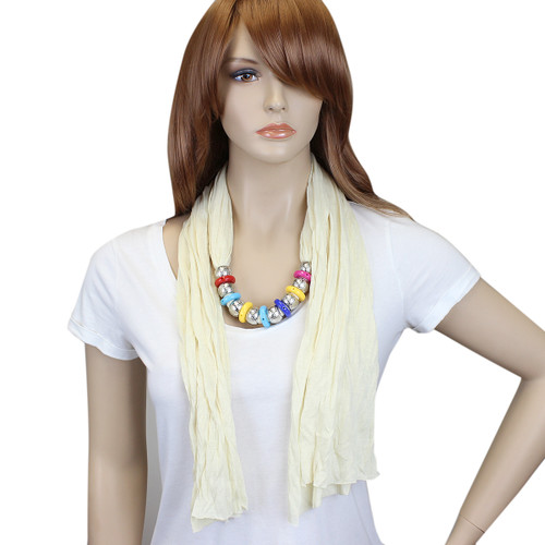 Bohemian Style Beads Jewelry Scarf Ivory