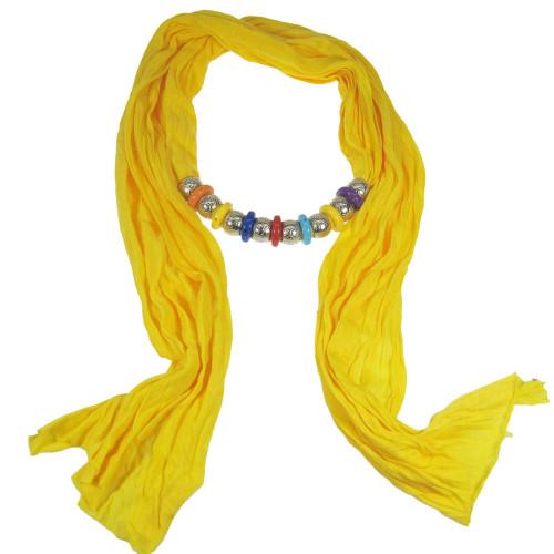 Bohemian Style Beads Jewelry Scarf Yellow