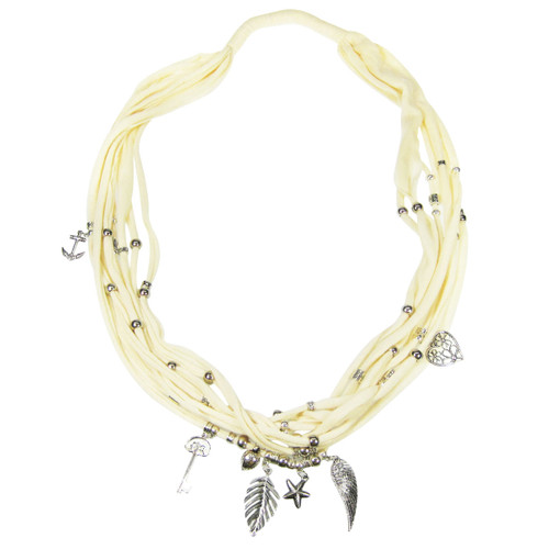 Assorted Charms Jewelry Necklace Scarf Pearl White