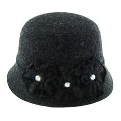 Nineteen Twenties Bucket Style Hat With Rhinestone Detail Grey