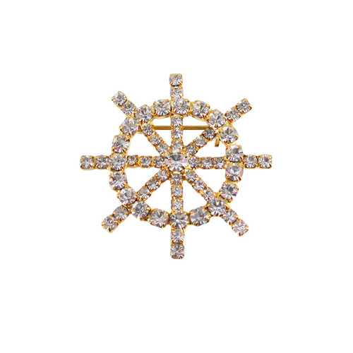 Rhinestone Encrusted Ship Wheel Pin Pendant