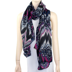 New Tribal Pattern Scarf Grey and Fuchsia