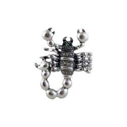 Scorpion Stretch Ring Silver Tone