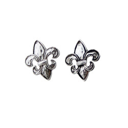 Fleur De Lis Stud Earrings Silver Tone