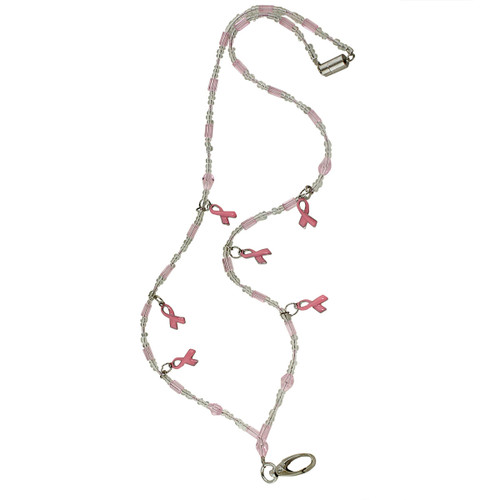 Glittering Beads and Pink Ribbon Lanyard