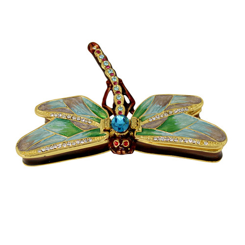 Lovely Bejeweled Dragonfly Trinket Box with Duel Openings