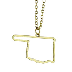 State of Oklahoma Necklace Gold