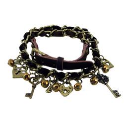 Ribbon Trim Chain Charm Bracelet Brown