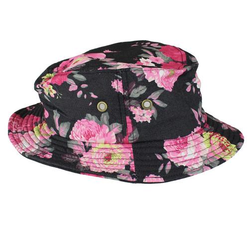 Fisherman's Bucket Hat Pink Roses